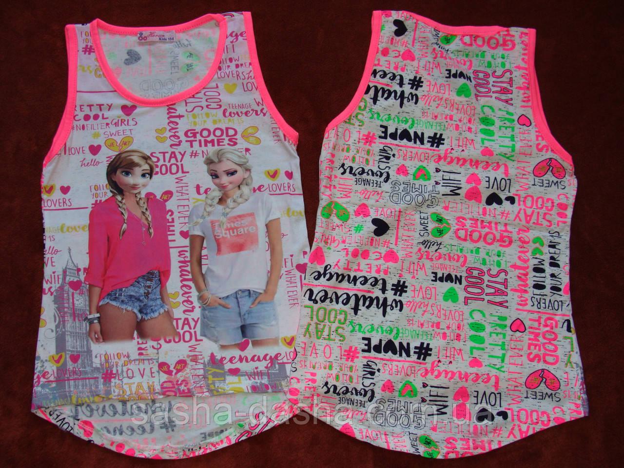 Майки для девочек модные. Анна и Эльза