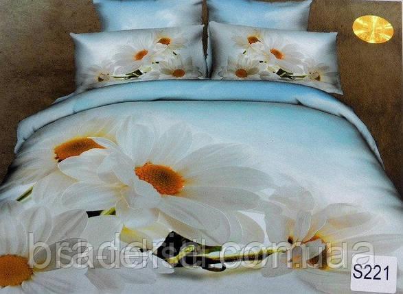 Сатиновое постельное белье евро 3D Люкс Elway S221, фото 2