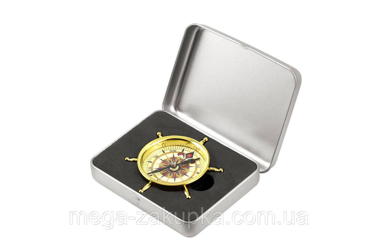 Компас Штурвал в металевій коробці, подарунок туристу і рибака