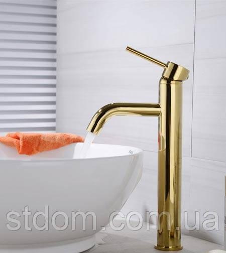 Високий змішувач для умивальника чаші Art Design Nice 3457G золото