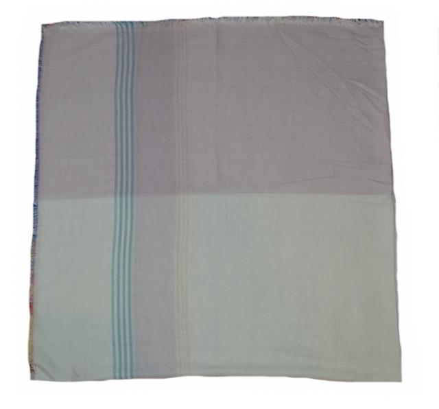 Мятный большой хлопковый платок в клетку 2