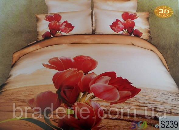 Сатиновое постельное белье евро 3D Люкс Elway S239, фото 2