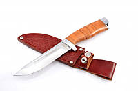 Нож для охоты и рыбалки Барнаул , с рукоятью из наборной кожи + эксклюзивные фото