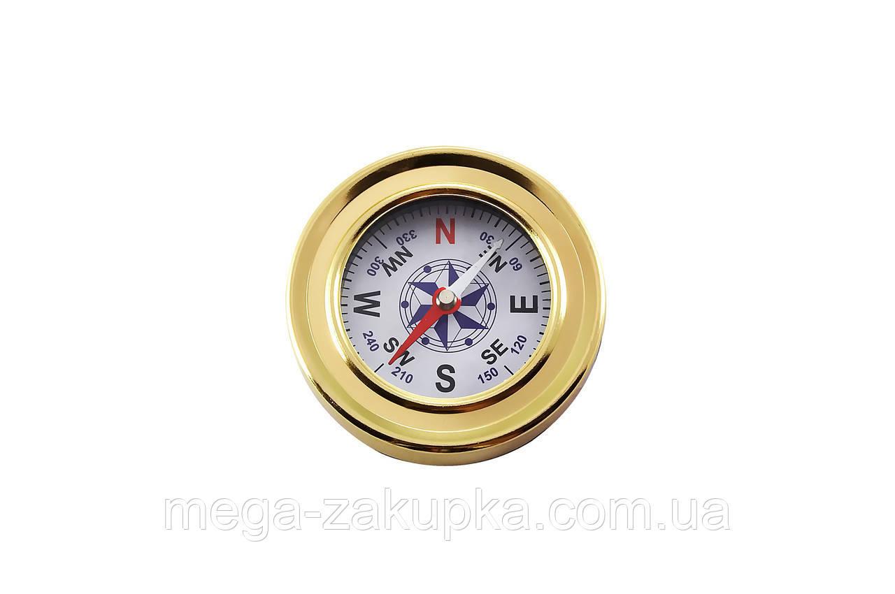 Туристический компас в металлическом корпусе, золотой расцветки