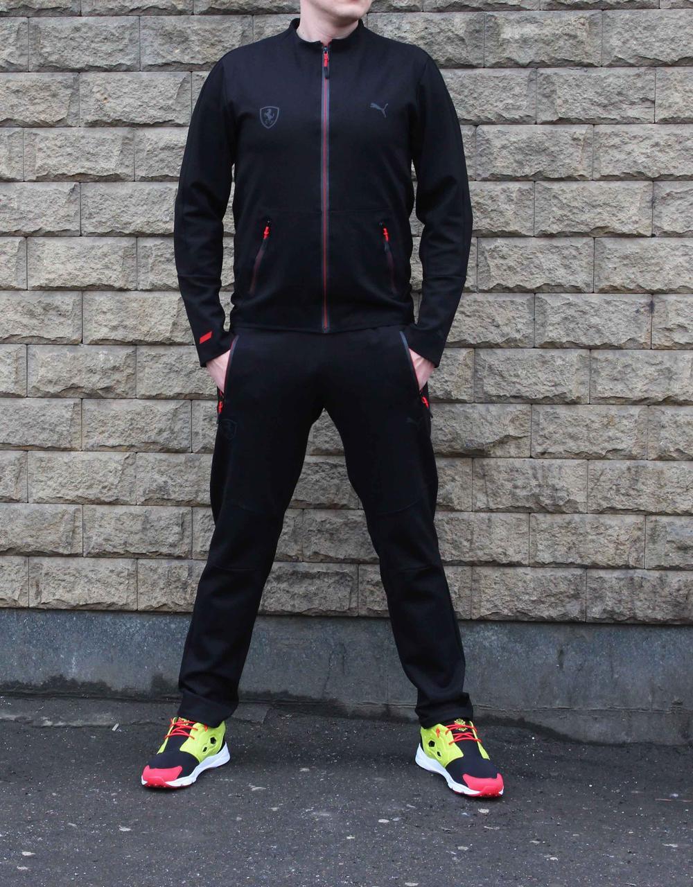 Стильный прямой черный  спортивный костюм Puma 48 размера (Реплика)