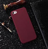 Чехлы для iPhone 5 5s SE Uslion Матовый силикон Бордо
