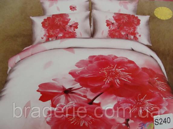 Сатиновое постельное белье евро 3D Люкс Elway S240, фото 2