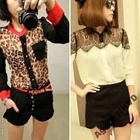 Женская блузка, рубашка, леопард, гипюр
