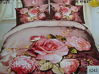 Сатиновое постельное белье евро 3D Люкс Elway S243 Розы
