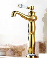Высокий смеситель для умывальника чаши Art Design Deco Gold 0169-3 золото