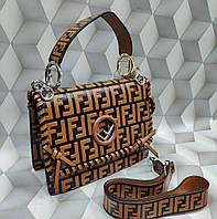 Женская сумка-клатч копия Фенди Fendi качественная эко-кожа дорогой Китай коричневая, фото 1