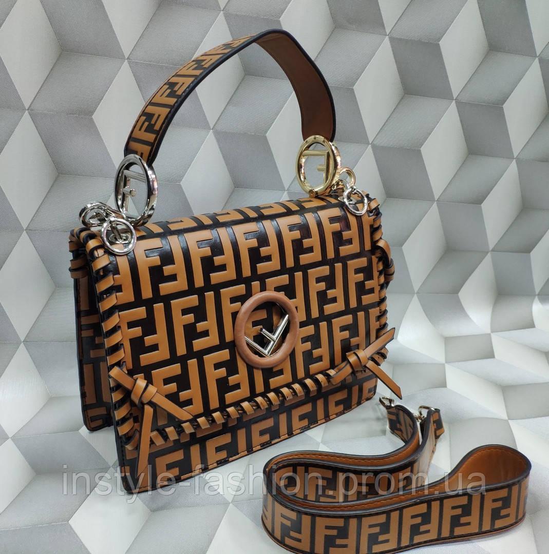 Женская сумка-клатч копия Фенди Fendi качественная эко-кожа дорогой Китай коричневая