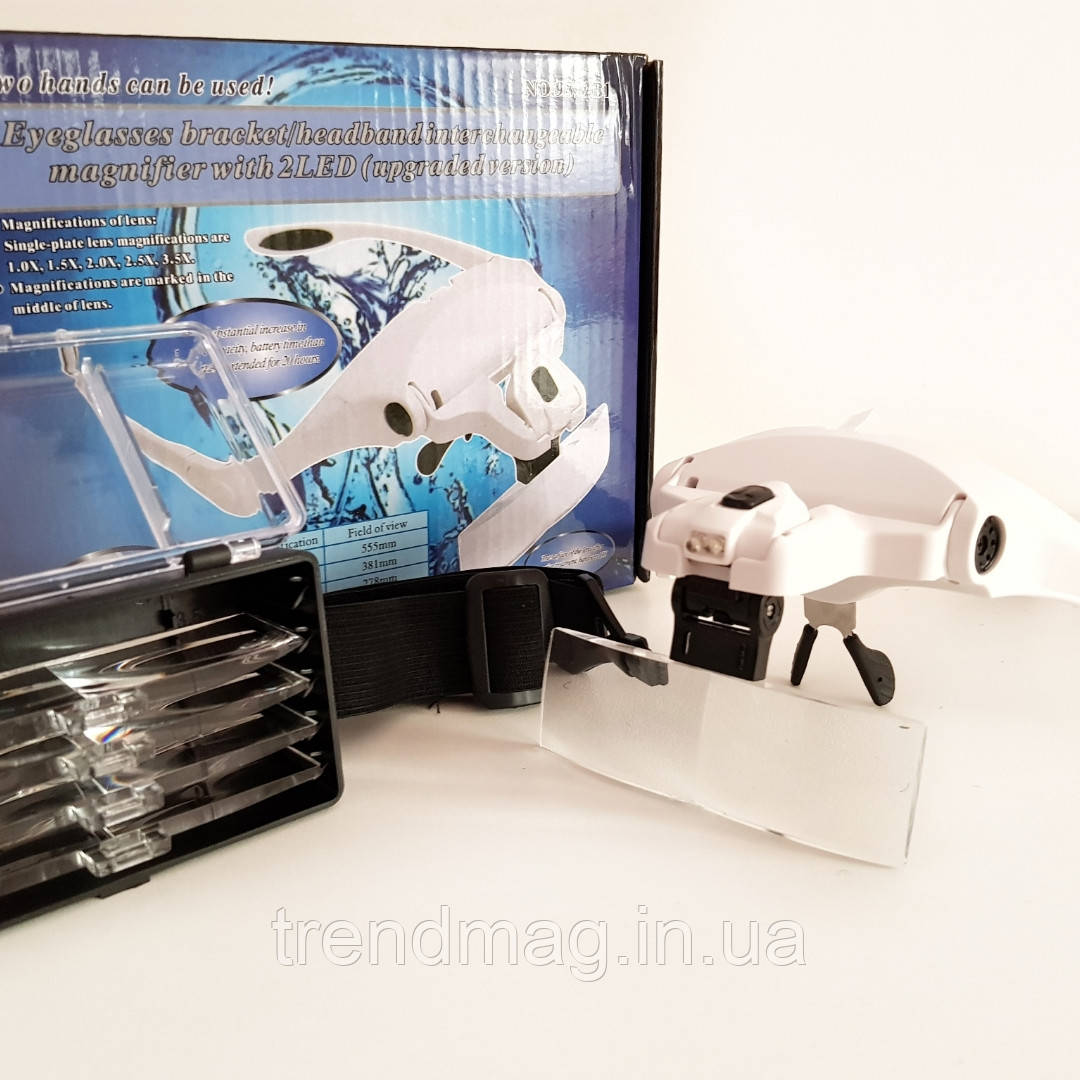 Очки для мастеров YRE Magnifier 9892B2 с сменными увеличительными линзами.