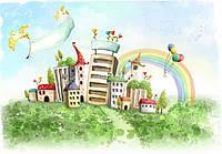 """Детские фотообои на стену """"Нарисованные домики с радугой"""""""