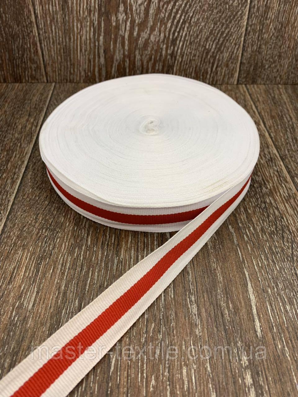 Тесьма полоска красная 50 м ширина 2,5 см