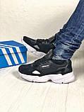 Мужские черные кроссовки в стиле Adidas Falcon (black/white), (Реплика ААА), фото 4