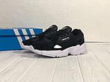 Мужские черные кроссовки в стиле Adidas Falcon (black/white), (Реплика ААА), фото 5