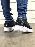 Мужские черные кроссовки в стиле Adidas Falcon (black/white), (Реплика ААА), фото 9
