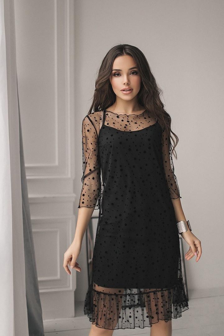"""Нарядное комбинированное платье-двойка """"LOLLA"""" с оборкой (2 цвета)"""