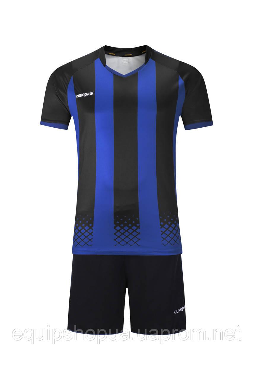 Футбольная форма Europaw 020 черно-синяя