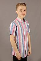 Рубашка мужская полоска Danger Jeans 522 Red Размеры M/46 L/48 XL/50 XXL/52