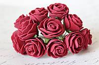 Декоративные розочки 3 см диаметр 12 шт. бордового цвета на стебле, фото 1