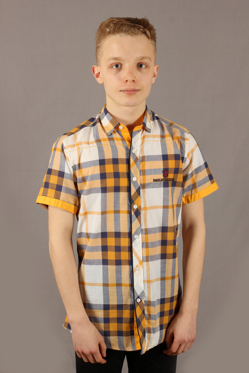 Рубашка мужская желтая клетка Emilio Sagezza SG003 Размеры S/46