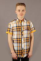 Рубашка мужская желтая клетка Emilio Sagezza SG003 Размеры S/46, фото 1