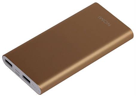 Внешний аккумулятор Power Bank Nomi E100 10000mAh Gold Гарантия 12 месяцев, фото 2