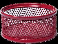 Подставка для скрепок 80x80x40мм, металлическая, красный
