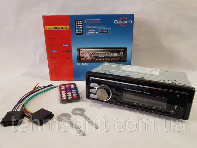 Магнитола в машину красная подсветка стильная магнитола SP-3243 ISO USB Micro SD не съемная панель