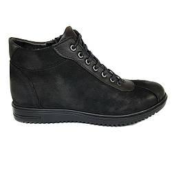 Зимние мужские кожаные ботинки Luciano Bellini на цигейке черные из нубука