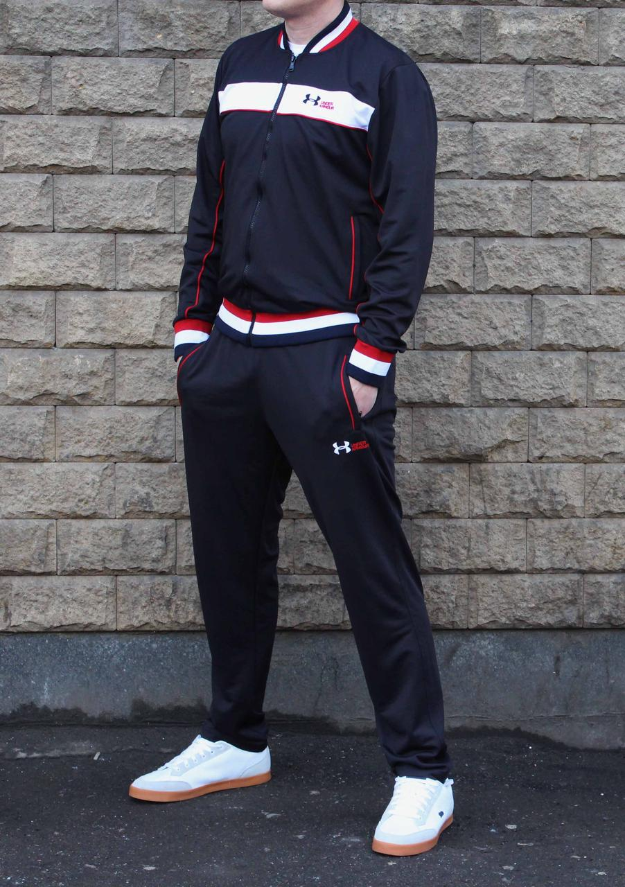 Стильный черный эластиковый спортивный костюм Under Armour в ретро стиле (Реплика)