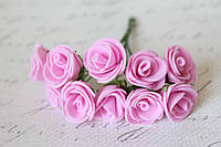 Букетик розочек 2,2 см диаметр мини 10 шт. розового цвета на стебле