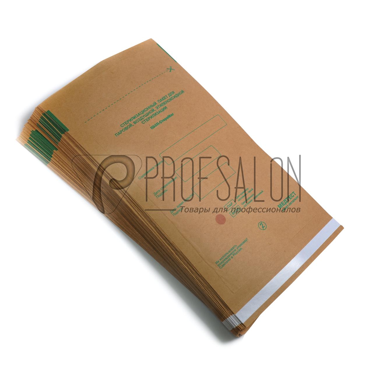 Пакеты для паровой, воздушной, этиленоксидной стерилизации, бумажные самоклеющиеся, плоские Размер: 150 х 280 (крафт) Кол-во: 100 шт.