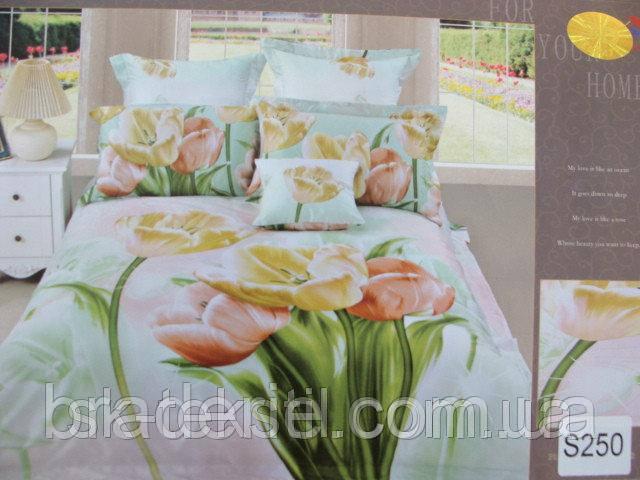 Сатиновое постельное белье евро 3D Люкс Elway S250