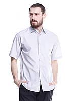 Светло-серая классическая мужская рубашка с коротким рукавом