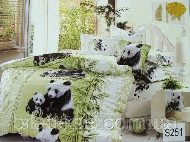 Сатиновое постельное белье евро 3D Люкс Elway S251 Семья панд