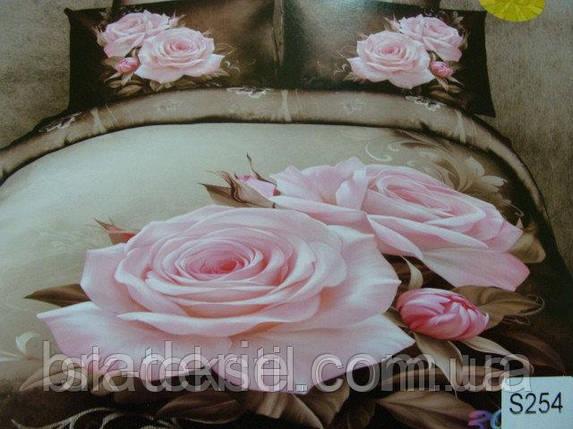 Сатиновое постельное белье евро 3D Люкс Elway S254, фото 2