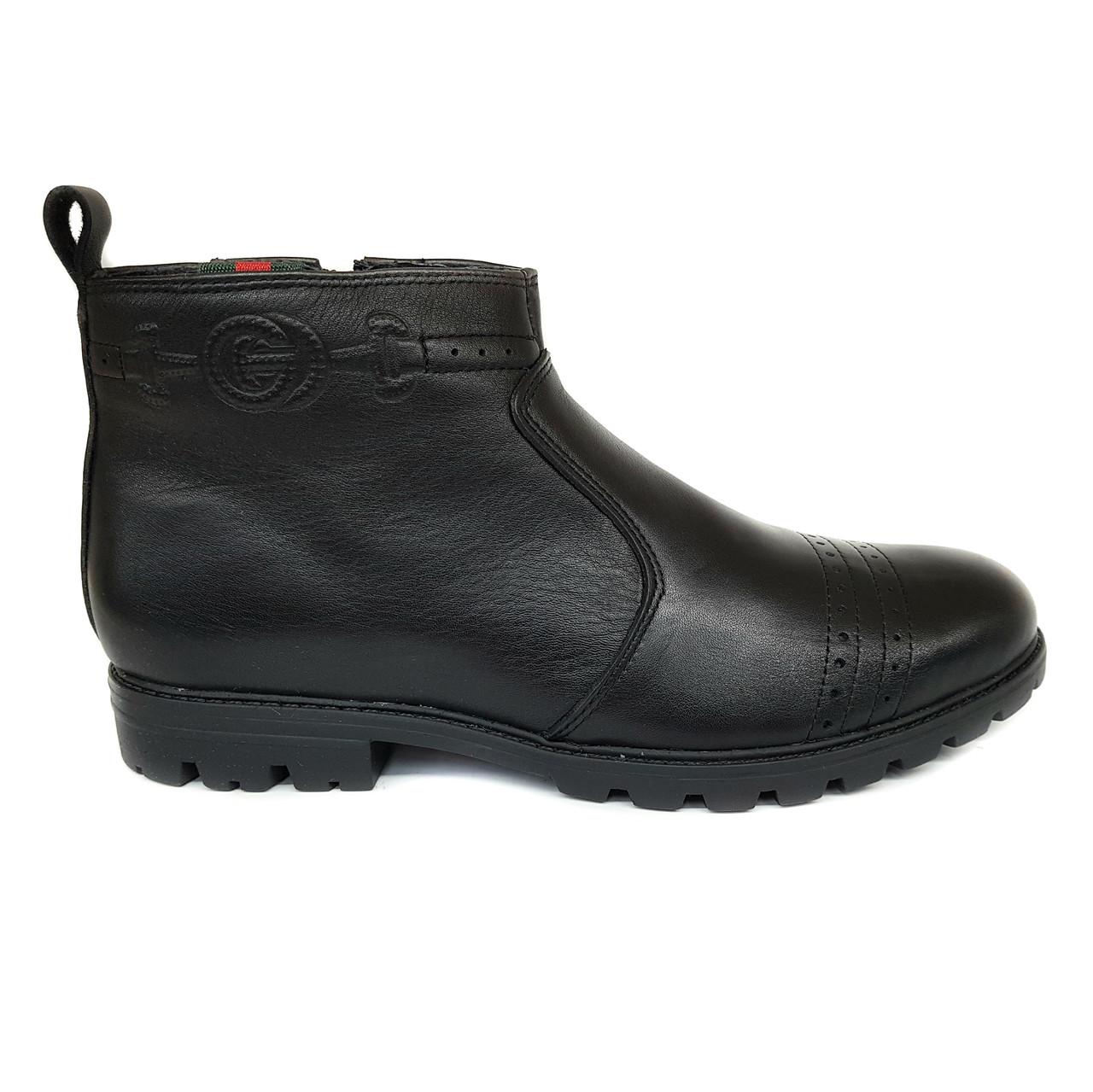 Зимние кожаные мужские ботинки Dan Shoes черные на меху