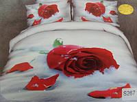 Сатиновое постельное белье евро 3D Люкс Elway S267 Роза на снегу