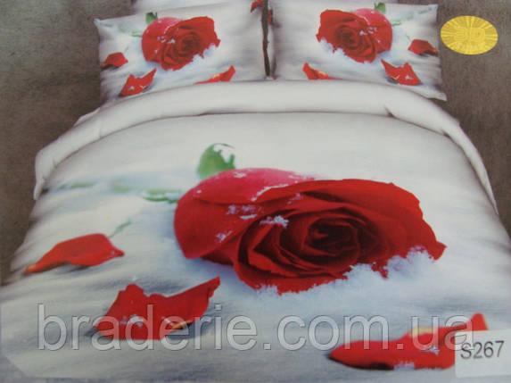 Сатиновое постельное белье евро 3D Люкс Elway S267 Роза на снегу, фото 2