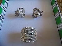 Богатые блестящее кольцо и серьги с фианитами