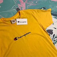 Мужская футболка желтая Champion. С нашивкой. Бирка Размер S d541bbe33e272
