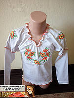 Вышиванка для девочки длинный рукав оранж 68