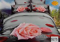 Сатиновое постельное белье евро 3D Люкс Elway S275 Роза на сером