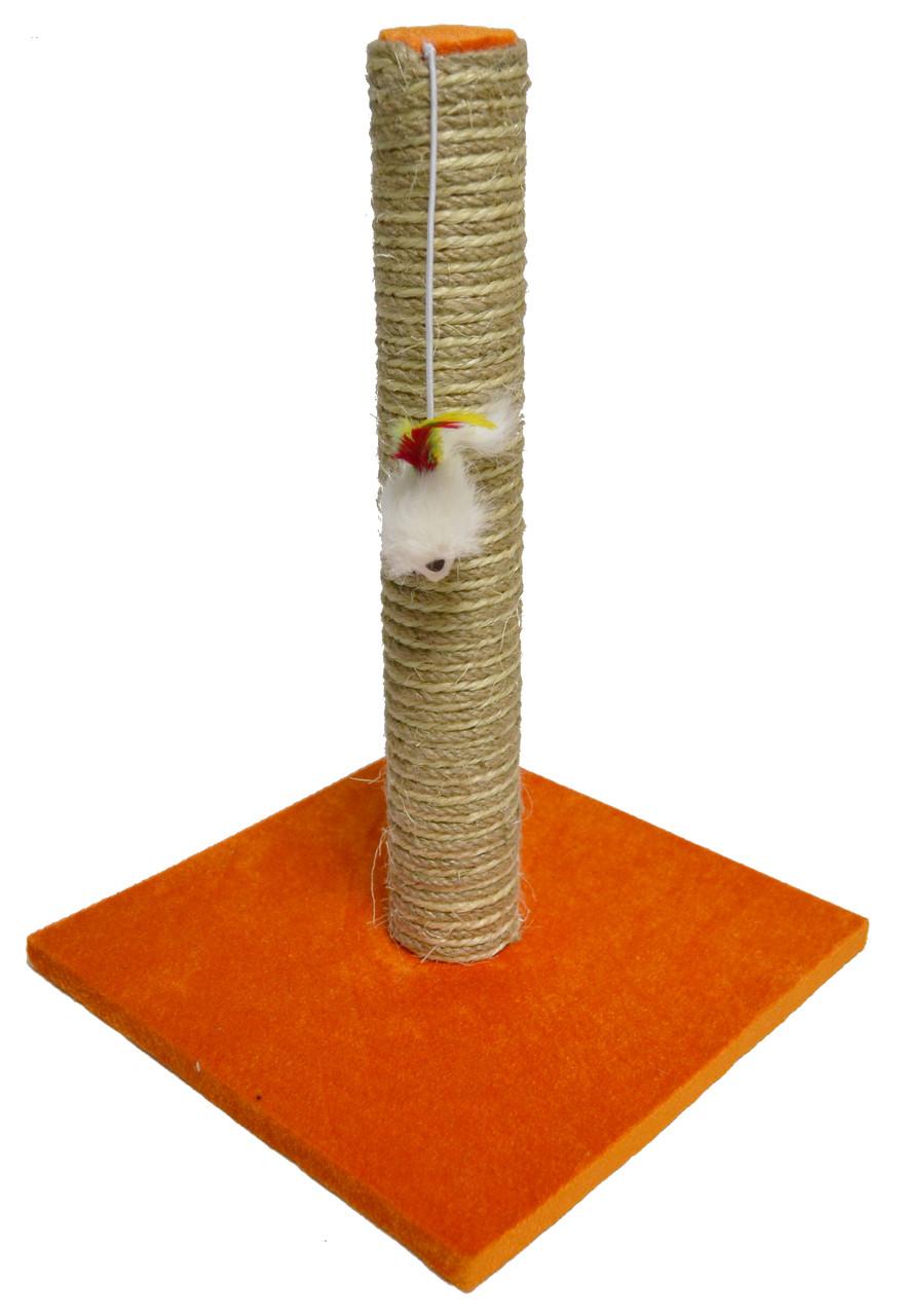 Когтеточка-столбик радуга с мышкой на квадратной подставке, джут-хлопок, 30х30х45 см