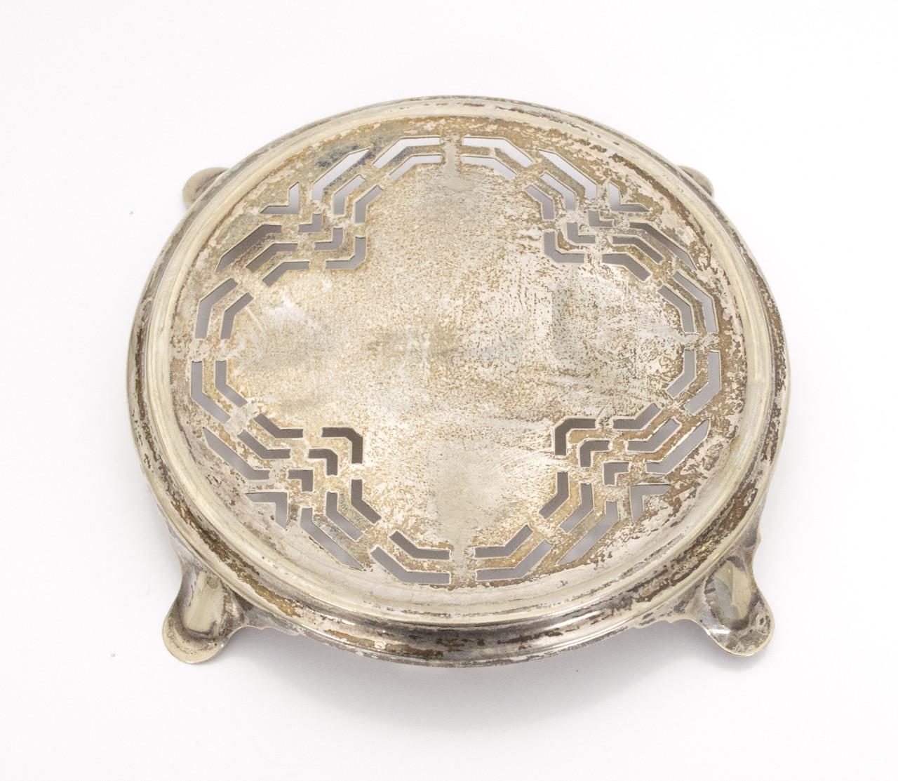 Старая подставка под чайник, посеребренный металл, Европа