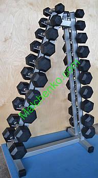 Гантельный ряд обрезиненный 1-10 кг