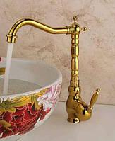 Высокий смеситель для раковины Art Design Deco Gold G24  золото, фото 1